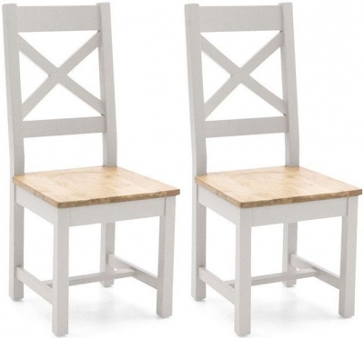 Vida Living Ferndale Cross Back Dining Chair (Pair) - Oak and Grey Painted
