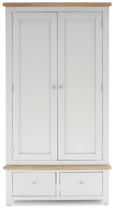 Vida Living Ferndale Grey Painted 2 Door 2 Drawer Double Wardrobe