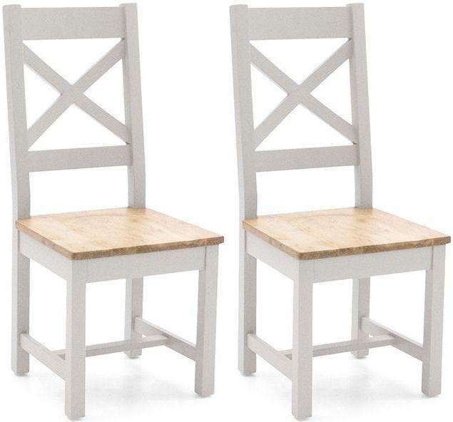Vida Living Ferndale Grey Painted Cross Back Dining Chair (Pair)