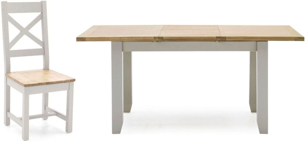 Vida Living Ferndale Extending Dining Table and 4 Cross Back Chairs - Oak and Grey Painted