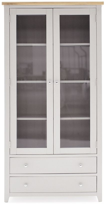 Vida Living Ferndale Grey Painted 2 Door 2 Drawer Display Cabinet