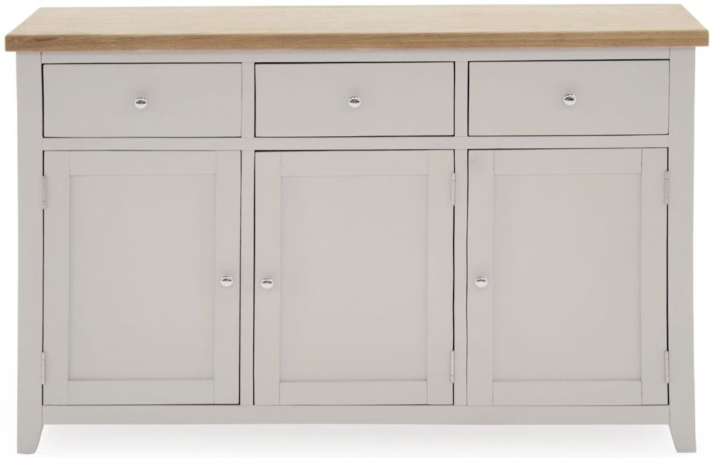 Vida Living Ferndale Grey Painted 3 Door 3 Drawer Wide Sideboard
