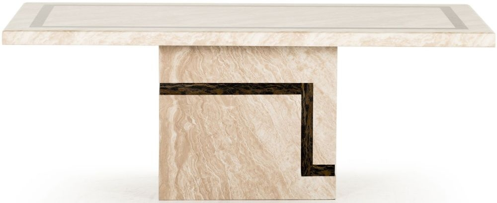 Vida Living Filippo Cream Marble Dining Table - 180cm Rectangular Fixed Top