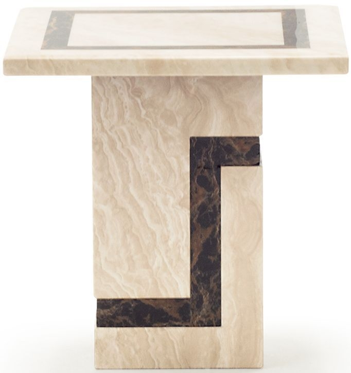 Vida Living Filippo Cream Marble End Table
