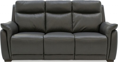 Vida Living Francesco Grey Leather 3 Seater Sofa