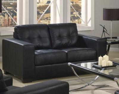 Vida Living Gemona 2 Seater Leather Sofa - Black