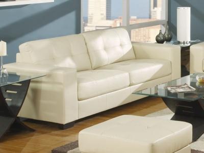 Vida Living Gemona 3 Seater Leather Sofa - Ivory