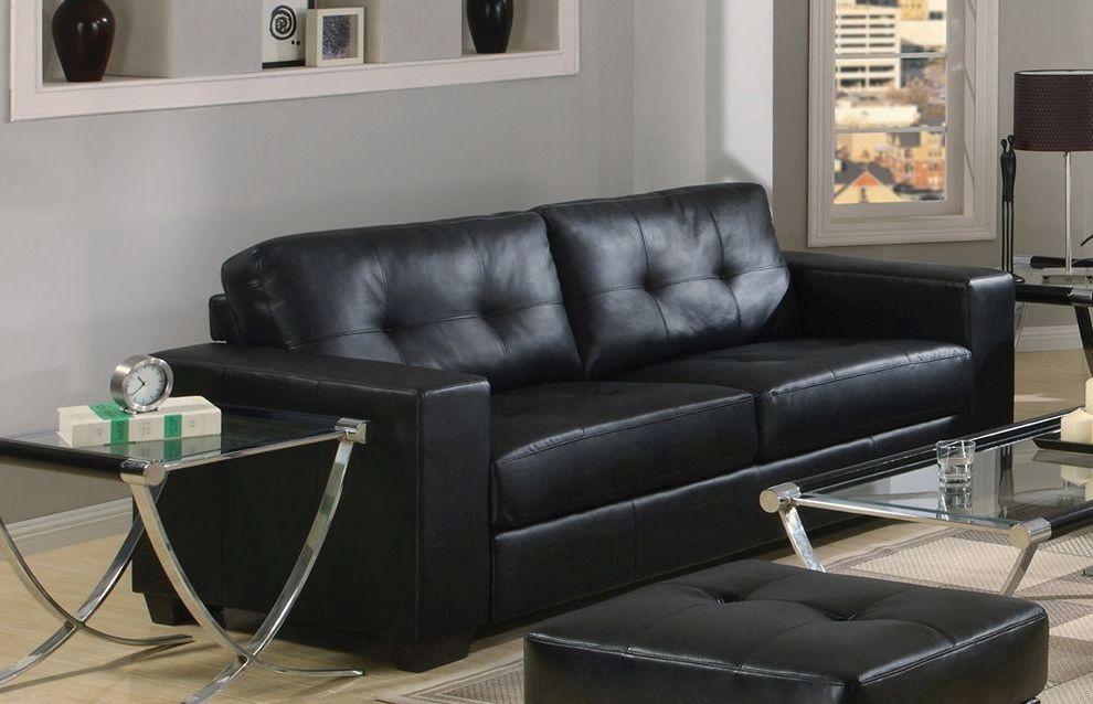 Vida Living Gemona 3 Seater Leather Sofa - Black