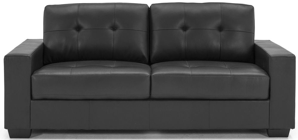Vida Living Gemona Black Faux Leather 3 Seater Sofa