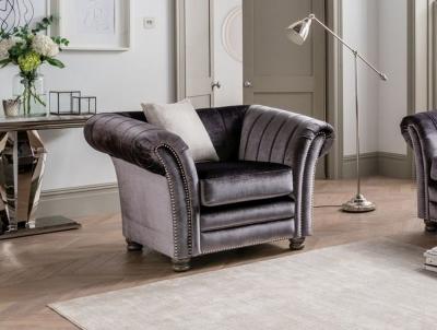 Vida Living Giselle Charcoal Velvet Armchair