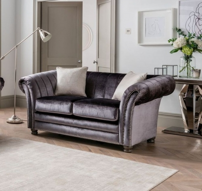Vida Living Giselle 2 Seater Sofa with 2 Scatters - Charcoal Fabric