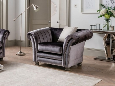 Vida Living Giselle Armchair with 1 Scatter - Charcoal Fabric