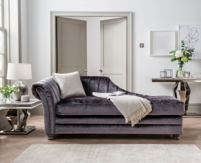 Vida Living Giselle Chaise with 1 Scatter - Charcoal Fabric
