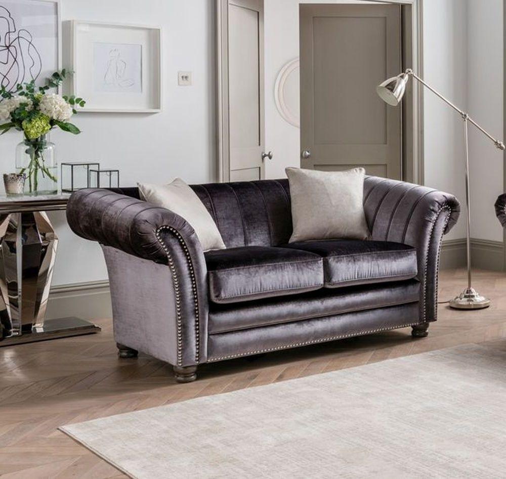 Vida Living Giselle Charcoal Velvet 2 Seater Sofa