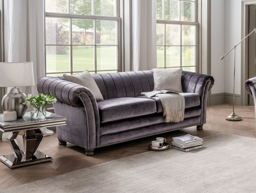Vida Living Giselle 3 Seater Sofa with 2 Scatters - Charcoal Fabric