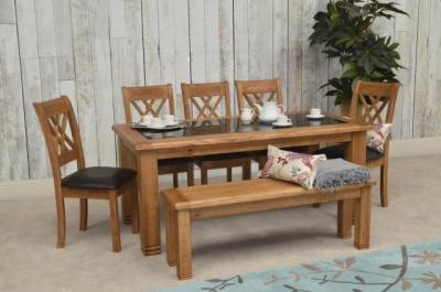 Vida Living Grant Oak Dining Set with 4 Dining Chairs and 1 Bench