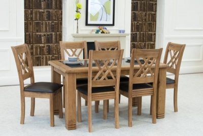 Vida Living Grant Oak Dining Set with 6 Dining Chairs
