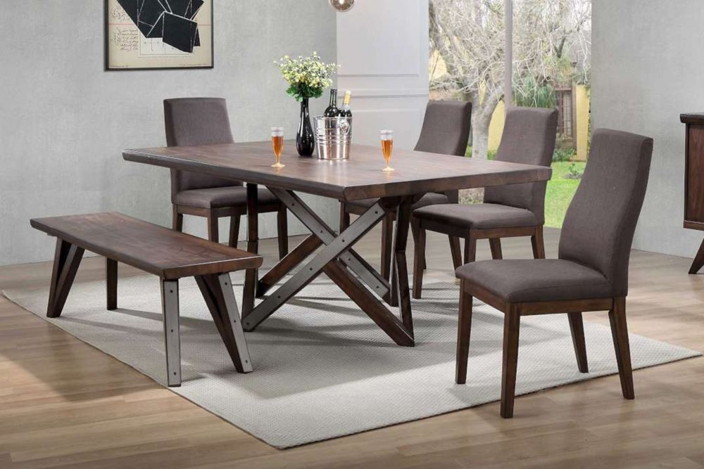 Vida Living Gratiano Walnut Dining Set - 197cm Rectangular Fixed Top with 4 Chairs and Bench