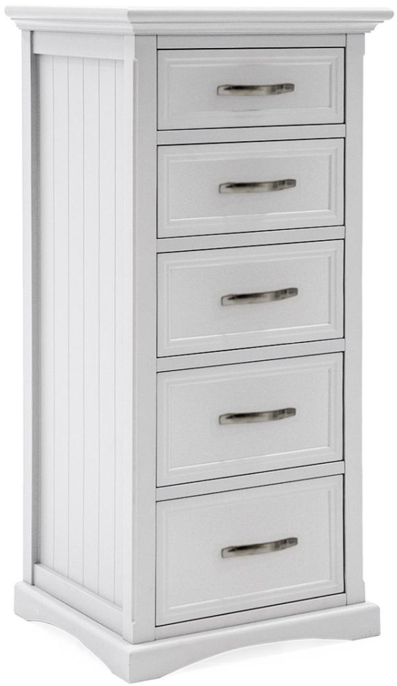 Vida Living Harlow 5 Drawer Tall Chest - White