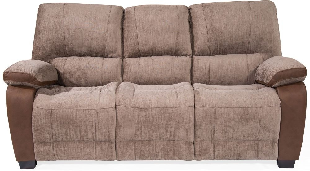 Vida Living Hastings Brown Fabric 3 Seater Fixed Sofa