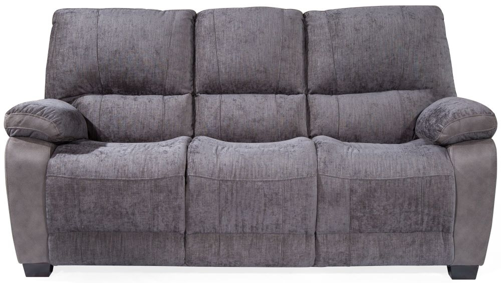 Vida Living Hastings Grey Fabric 3 Seater Fixed Sofa
