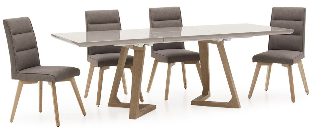 Vida Living Jenoah High Gloss Extending Dining Table and 4 Chairs - Oak and Grey