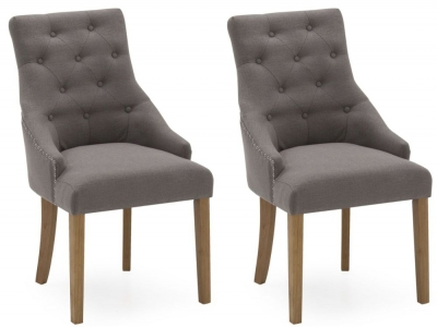 Vida Living Hobbs Grey Linen Fabric Dining Chair (Pair)