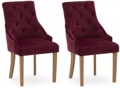 Vida Living Hobbs Crimson Velvet Dining Chair (Pair)