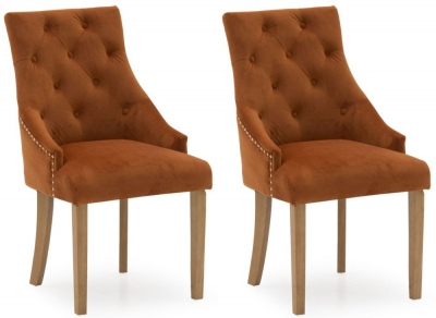 Vida Living Hobbs Pumpkin Velvet Dining Chair (Pair)