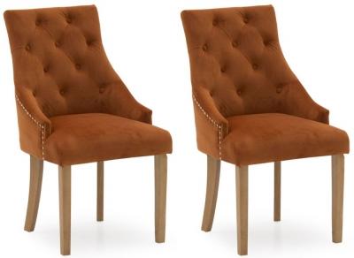 Vida Living Hobbs Pumpkin Velvet Dining Chair (Pair)