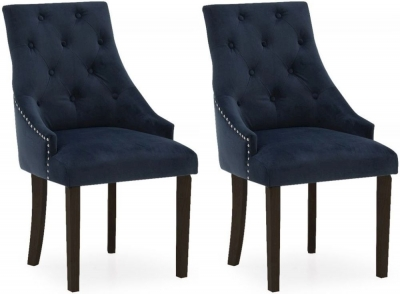 Vida Living Hobbs Midnight Velvet Wenge Leg Dining Chair (Pair)