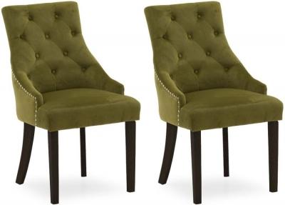 Vida Living Hobbs Moss Velvet Wenge Leg Dining Chair (Pair)