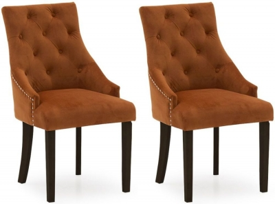 Vida Living Hobbs Pumpkin Velvet Wenge Leg Dining Chair (Pair)