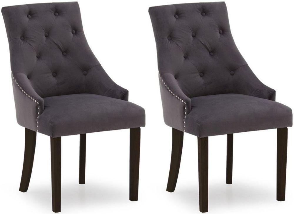 Vida Living Hobbs Misty Velvet Wenge Leg Dining Chair (Pair)