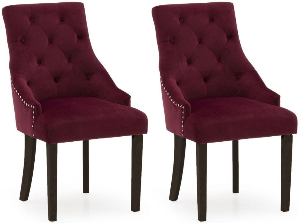 Vida Living Hobbs Crimson Velvet Wenge Leg Dining Chair (Pair)