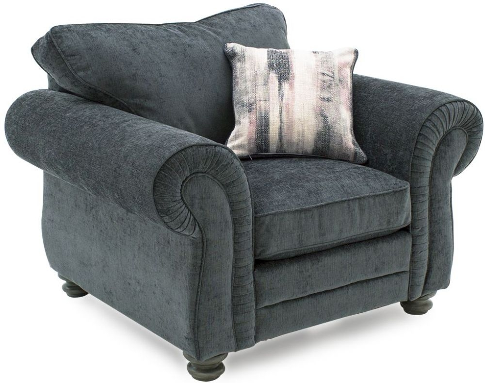 Vida Living Hollins Charcoal Fabric 1 Seater Fixed Sofa with Scatter Cushion
