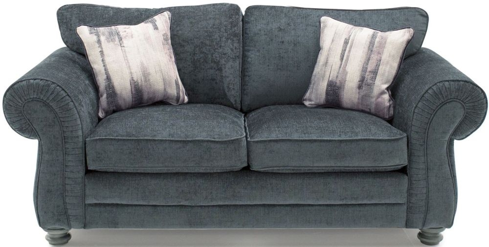 Vida Living Hollins Charcoal Fabric 2 Seater Fixed Sofa with Scatter Cushion