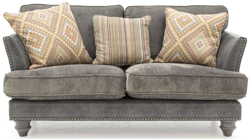 Vida Living Hyde Grey 2 Seater Sofa with 3 Scatter Cushions