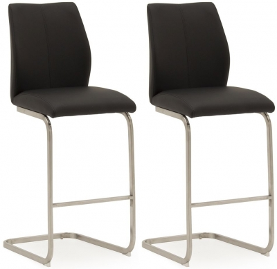 Vida Living Irma Black Faux Leather Barstool (Pair)
