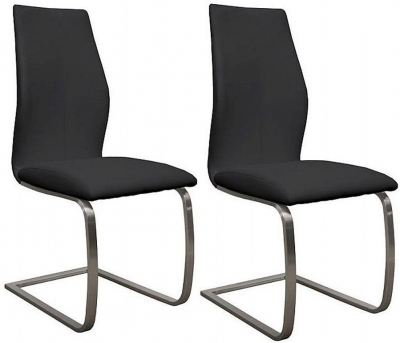 Vida Living Irma Black Faux Leather Dining Chair (Pair)