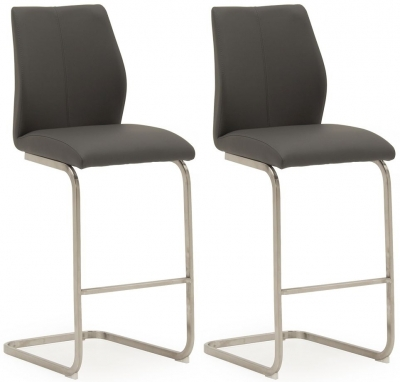 Vida Living Irma Grey Faux Leather Barstool (Pair)