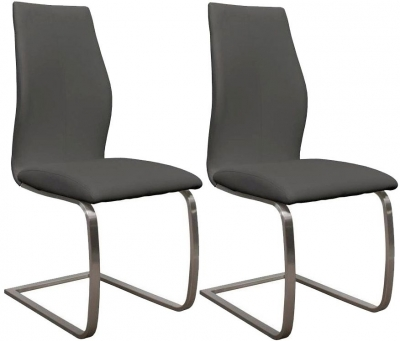 Vida Living Irma Grey Faux Leather Dining Chair (Pair)