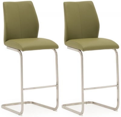 Vida Living Irma Olive Faux Leather Barstool (Pair)