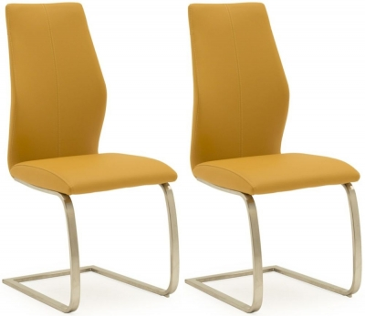 Vida Living Irma Pumpkin Faux Leather Dining Chair (Pair)