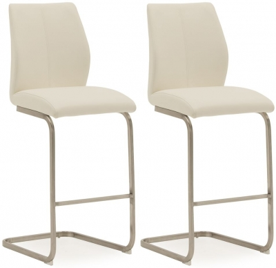 Vida Living Irma White Faux Leather Barstool (Pair)