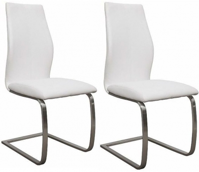 Vida Living Irma White Faux Leather Dining Chair (Pair)