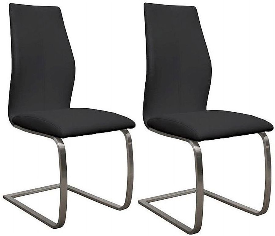 Vida Living Irma Black Faux Leather Dining Chair (Pair)