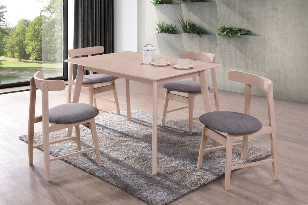 Vida Living Isla Beech Rectangular Dining Set with 4 Grey Fabric Curve Back Chairs - 120cm