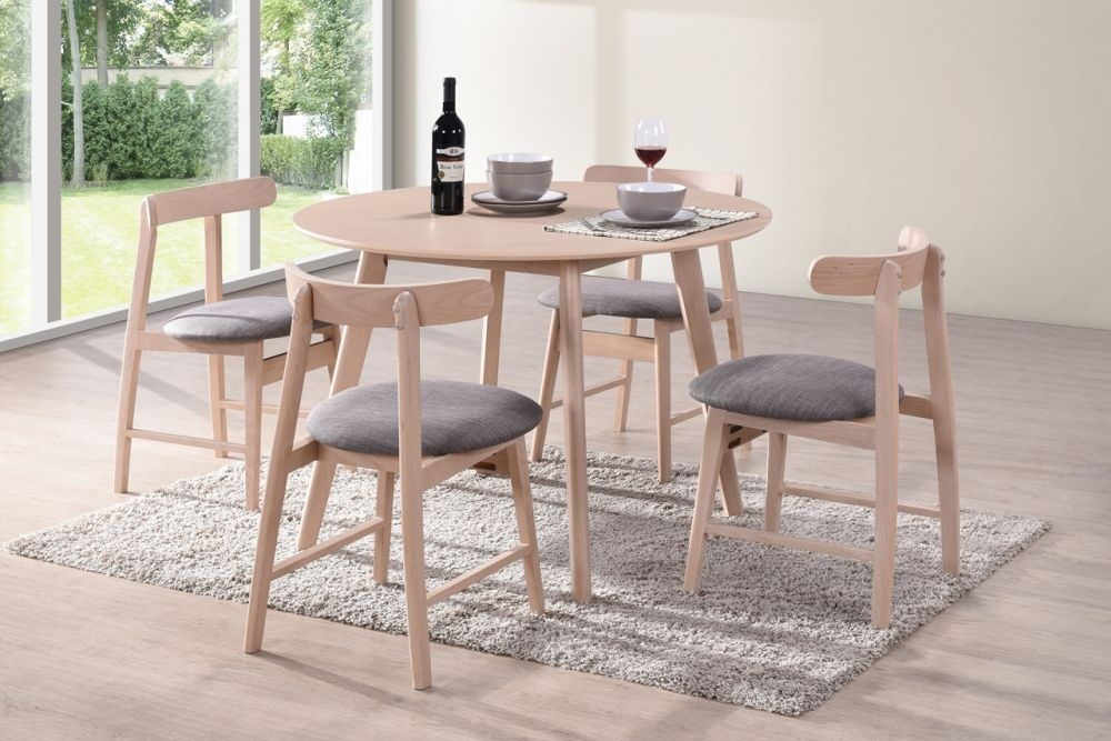 Vida Living Isla Beech Round Dining Table and 4 Curve Back Chairs