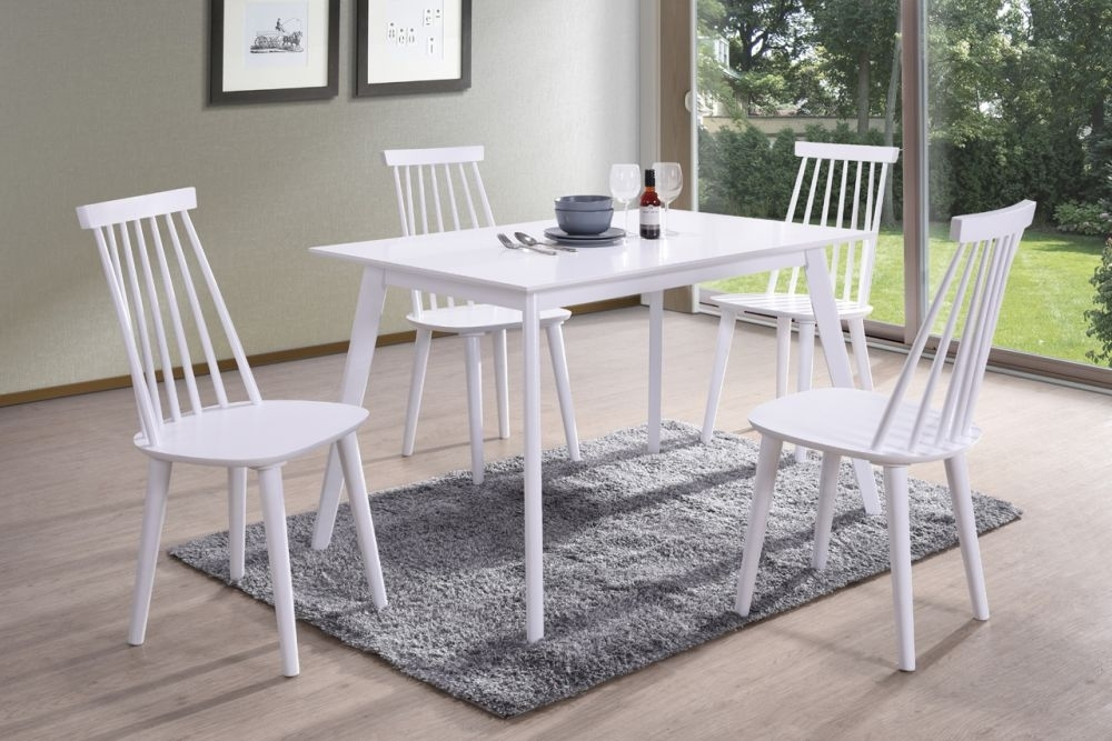Vida Living Isla White Dining Table and 4 Spindle Chairs